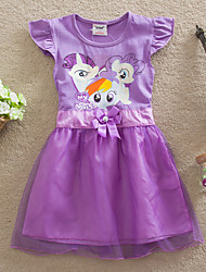 Roupas Infantil Hot Selling Girl's Summer Short Sleeve Princess Bow Baby Kids Party Dresses (Cotton)