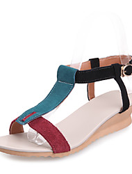 Women's Shoes Leather Wedge Heel T-Strap Sandals Dress More Colors available