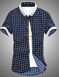 Men's Short Sleeve Cotton Casual Plaids & Checks