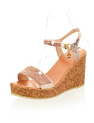 Women's Shoes Wedge Heel Open Toe/Platform/Ankle Strap/Sandals Dress/Gold/Silver