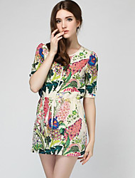 Women's Casual/Party/Work V-Neck ½ Length Sleeve Dresses (Chiffon/Silk)