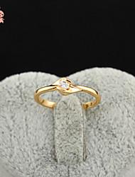 KuNiu Women's High Quality Classic 18K Gold Plated White Zircon Wedding Rings J0314