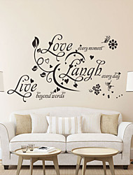 Wall Stickers Wall Decals Style Love Laugh Live English Words & Quotes PVC Wall Stickers