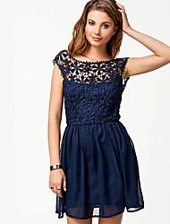 Women's Round Dresses , Chiffon Casual/Party Sleeveless Free Cloud