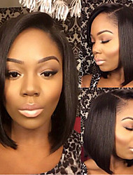 In Stock 10-28inch Bob Straight Brazilian Human Hair Natural Color Full Lace Wig