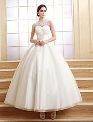 De Baile Pequeno Vestido de Noiva Até o Tornozelo Ondulado Tule com