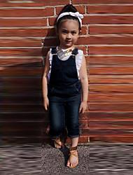 Girl's All Seasons Micro-elastic Thin Short Sleeve Jeans/Clothing Sets (Cotton Blends/Denim)
