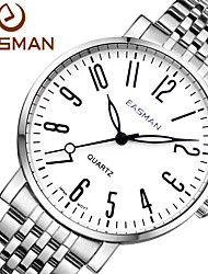 EAsman Brand Quartz Watches Men Full Stainless Steel Wristwatches Fashion Classic Number White Watch