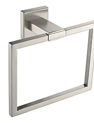 Brushed Nickel 304 # Solid Stainless Steel Bathroom Accessories Products Square Towel Ring Towel Holder Towel Bar