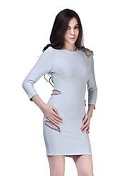 Cocktail Party Dress - As Picture Sheath/Column Jewel Short/Mini Spandex / Rayon / Nylon Taffeta