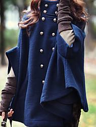 Women's Blue Coat , Casual Long Sleeve Fleece