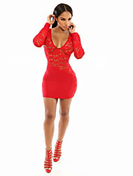 Women's Lace Red Dress , Sexy/Bodycon/Casual/Lace Deep U Long Sleeve Lace/Backless