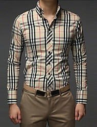 Men's Casual/Work/Formal Pure Long Sleeve Regular Shirts (Cotton Blends)