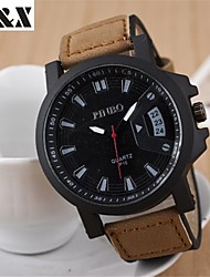 Masculino Relógio Militar Quartz Couro Banda Preta / Marrom marca-