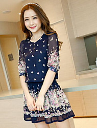 Women's rural wind gird sweet floral printed chiffon dress