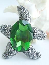 Women Accessories Gray Green Rhinestone Crystal Brooch Bouquet Art Deco Starfish Brooch Women Jewelry
