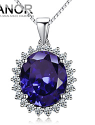 YANOR The Noble Women's Sterling Silver Necklace With Tanzanite