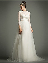 A-Line Illusion Neckline Sweep / Brush Train Tulle Wedding Dress with Appliques Sash / Ribbon Button by AMGAM