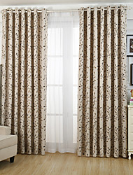 Two Panels  Floral  Leaf Jacquard Blackout Curtains Drapes