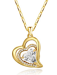 T&C Women's 18k Yellow Gold Plated Clear Cubic Zirconia Simulated Diamond Heart Pendant Necklace