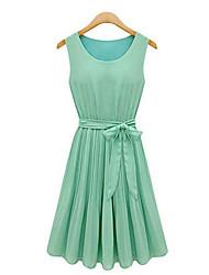 Women's Casual/Work Round Sleeveless Dresses (Chiffon)