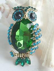 Women Accessories Gold-tone Turquoise Green Rhinestone Crystal Owl Brooch Art Deco Scarf Brooch Pin Women Jewelry