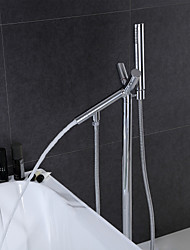 Revolvable Floor Standing Tub Faucet with Hand Shower - Chrome Finish