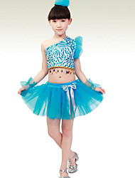 Latin Dance Performance Outfits Children's Performance Polyester Sweet Flower Outfit Blue/Fuchsia/Yellow Kids Dance Costumes