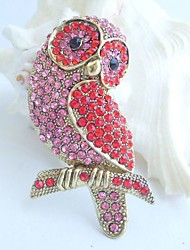 Women Accessories Gold-tone Red Pink Rhinestone Crystal Brooch Art Deco Bird Owl Brooch Women Jewelry