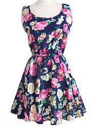 Women's Summer Chiffon Floral Print Sleeveless Vest Dress