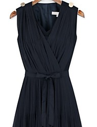 Women's Casual V-Neck Sleeveless Dresses (Others)