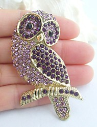 Women Accessories Gold-tone Purple Rhinestone Crystal Brooch Art Deco Bird Owl Brooch Women Jewelry