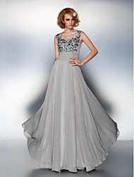TS Couture® Formal Evening Dress Plus Size / Petite A-line Scoop Floor-length Chiffon with Appliques / Ruching / Sequins