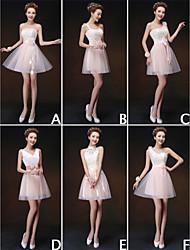 Robe de Demoiselle d'Honneur - Champagne A-line/Princesse Épaule asymétrique/Sans bretelles/Col en V/Col montant Longueur mi cuisse