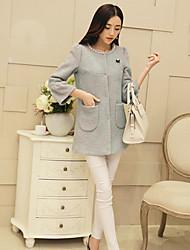 Women's Blue/Pink Coat , Cute ¾ Sleeve Wool/Polyester