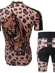 Leopard Print Unisex Short Sleeve Cycling Suits Shorts Breathable/Ultraviolet Resistant/3D Pad/Wicking S/M/L/XL/XXL