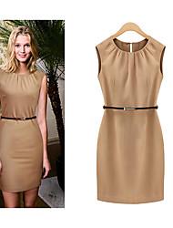 Women's O-Neckline Sleeveless Thin Cotton Dresses
