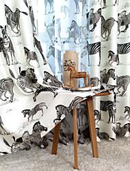 comedor de una cortina de impresión estilo natural cebra (dos paneles)