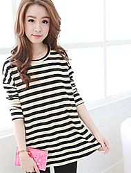 Women's Striped Black T-shirt , Round Neck Long Sleeve