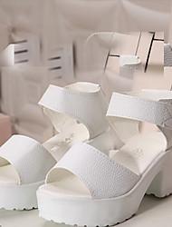 Zapatos de mujer Cuero Plataforma Punta Abierta/Plataforma/Comfort Sandalias Exterior/Oficina y Trabajo/Vestido Negro/Blanco