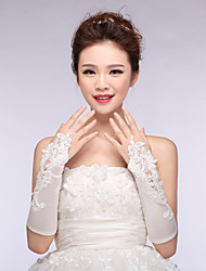 Bridal Gloves Satin/Lace Elbow Length Wedding/Party Glove White