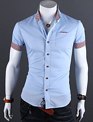 Men's Short Sleeve Shirt , Cotton/Cotton Blend Casual/Work/Formal Pure