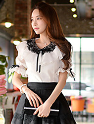 DABUWAWA Women's Casual/Lace/Work Round ½ Length Sleeve Tops & Blouses (Polyester)