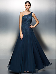 Prom / Formal Evening / Black Tie Gala Dress Plus Size / Petite A-line One Shoulder Floor-length Tulle with Appliques