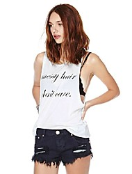 2015 New Fashion Women Summer Loose Vest Tops Messy Hair Don't Care Letter Print Sleeveless White Tank Top