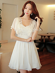 DABUWAWA Women's Casual/Lace/Party Square Short Sleeve Applique Dresses (Elastic/Polyester)