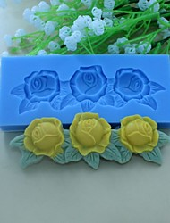 Rose Flower with Leaf pattern Shaped  Fondant Cake Chocolate Silicone Mold Decoration Tools