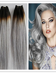 3Pcs/Lot Grade 8A 100% Unprocessed Brazilian Virgin Human Hair Weave Straight Brazilian Extension Color #1B/Grey