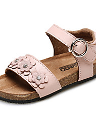 Girl's Sandals Summer Comfort / Round Toe / Open Toe Leatherette Outdoor / Casual / Athletic Flat HeelRhinestone / Flower / Magic Tape /