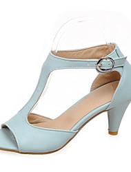 Zapatos de mujer - Tacón Bajo - Punta Abierta - Sandalias - Vestido - Semicuero - Negro / Azul / Rosa / Beige